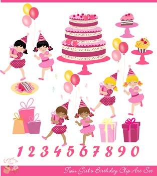 Twin Girl's Birthday Clip Art Set
