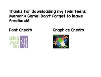 Twin Teen Memory Game