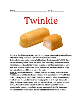 Twinkie Day - April 6 - Lesson History Facts Questions Word Search