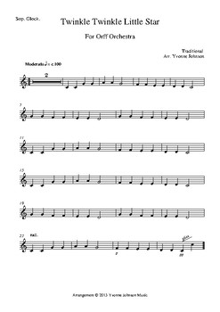 Twinkle Twinkle Little Star For Orff Orchestra