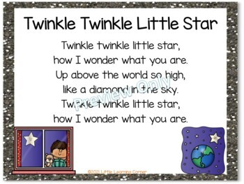 Build a Poem ~ Twinkle Twinkle Little Star ~ Pocket Chart Center