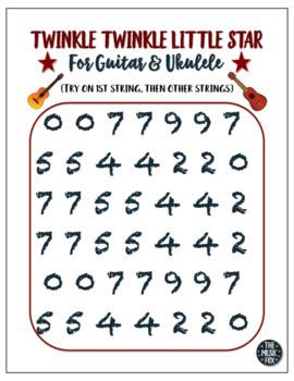 Twinkle Twinkle Little Star - Poster or Handout for Guitar & Ukulele!