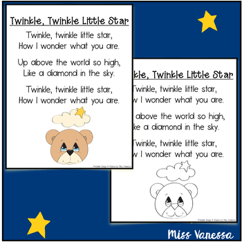 Twinkle, Twinkle Little Star Printable Poem - Music & Poetry Lyrics for Kids