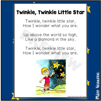 Twinkle, Twinkle Little Star Printable Poem - Music & Poetry Lyrics for Kids
