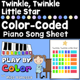 Twinkle Twinkle Little Star Color-Coded Easy To Play Piano Song Sheet