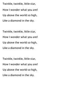 Twinkle Twinkle Little Star Word Search