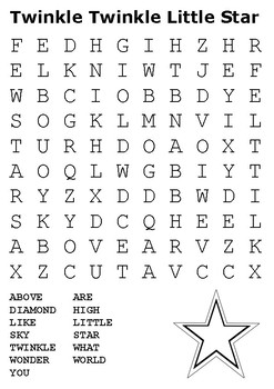 Twinkle Twinkle Little Star Word Search