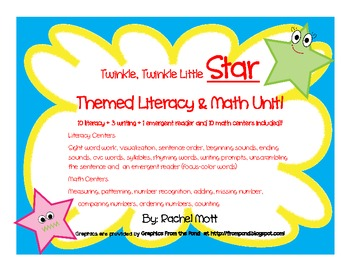 Twinkle Twinkle Little Star themed MATH & LITERACY PACK!