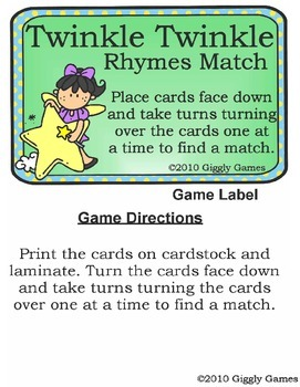 Twinkle Twinkle Rhymes Match Play & Learn Pack