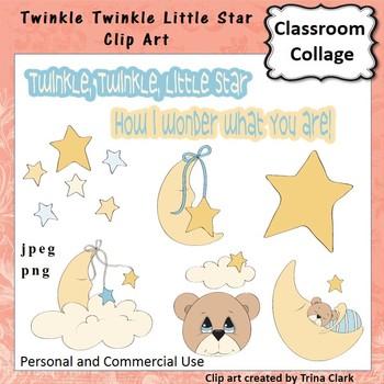 Twinkle Twinkle Star Clip Art - Color - pers & comm Nursery Rhyme T Clark