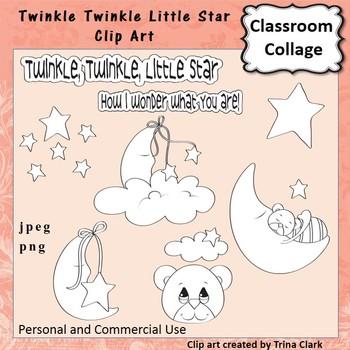 Twinkle Twinkle Star Clip Art - line drawing - pers & comm Nursery Rhyme T Clark