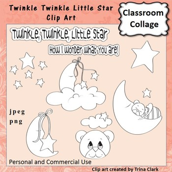 Twinkle Twinkle Star Clip Art - line drawing - pers & comm