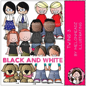 Twins 3 clip art - BLACK AND WHITE - by Melonheadz