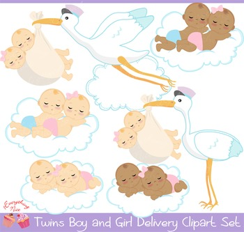 Twins Boy and Girl Stork Delivery Clipart Set
