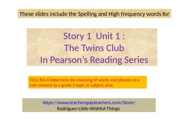 "2nd grade Unit 1 Story 1 ""Twins Club ""words"