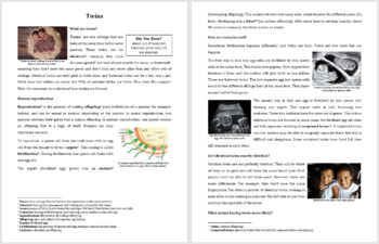 Twins - Identical and Fraternal - Science Reading Article - Grades 5-7