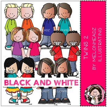 Twins clip art - BLACK AND WHITE - Melonheadz Clipart
