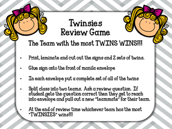 Twinsies! Review Game. The team with the most TWINS wins!