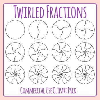 Twirled Fractions or Spinners Clip Art Set for Commercial Use