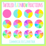 Twirled Rainbow Fractions or Spinners Clip Art Set for Commercial Use