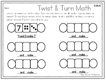 Twist & Turn Number Builders Recording Sheets--K.OA.1