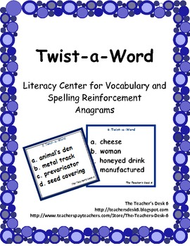 Twist-a-Word Literacy Center for Vocabulary and Spelling Reinforcement