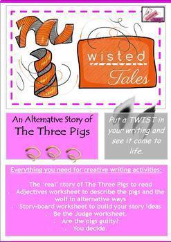 Twisted Fractured Fairy Tales Writing BUNDLE Snow White 3 Pigs Goldilocks