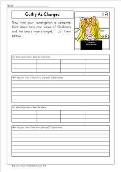 Twisted Fractured Fairy Tales *GOLDILOCKS* includes lots of lesson ideas No Prep