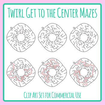 Twisted Mazes - Get to the Center of the Maze Clip Art With Solutions
