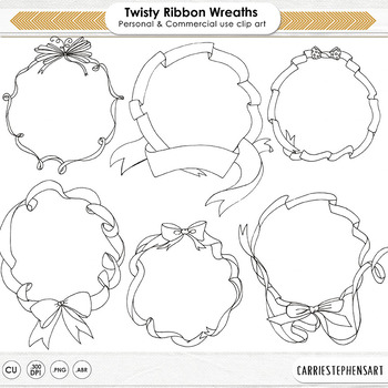 Ribbon Borders, Twisted Ribbon Circle Frames, Wavy