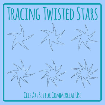 Twisted Stars Tracing Lines for Pencil Control Clip Art Set Commercial Use