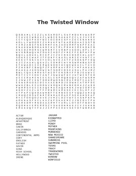 Twisted Window Word Search