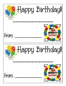 Twister Birthday Certificate