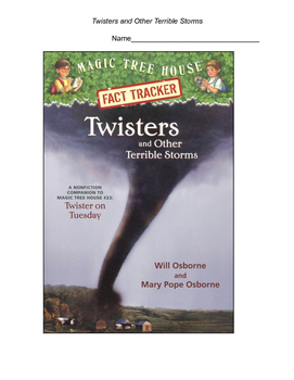 Twisters and Other Terrible Storms Reading Comprehension Packet with Answer Key