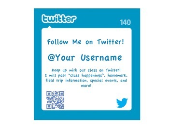 Individual Parent Communication Twitter Cards and Sign for Teachers