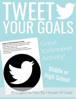 Twitter Goals Activity, Back to School Activity, Writing Goals Activity