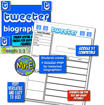 Tweeter Page Biographies!  Students create Tweeter pages for historical figures!