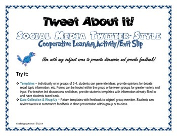 Twitter-Style Cooperative Learning/Exit Slip Activity