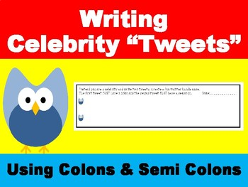 Twitter Tags to practice Semi-Colons and Colons