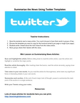Twitter Templates and Mini Lesson