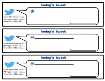 Twitter Tweet Exit Ticket Slip Assessment Back to School