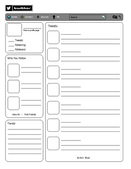 Twitter template by justin ford teachers pay teachers for Blank twitter profile template