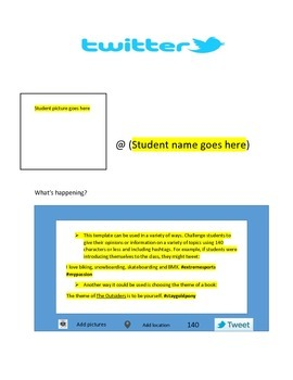 Twitter worksheet for the classroom