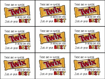Twix Testing Motivation Treat Tags (Sweets Gift Tag) | TpT