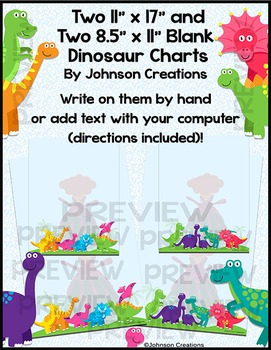 "Two 11"" x 17"" and Two 8.5"" x 11"" Blank Dinosaur Charts"