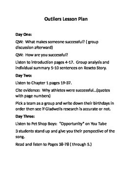 Three Week Outliers Lesson Plan