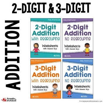 Two And Three Digit Addition Worksheets With Answer Keys