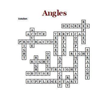 Angles - Two Geometry Crossword Puzzles that Feature 20 Words Related to Angles