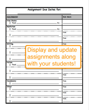 Assignment Due Dates Anchor Chart for Grades 6-8