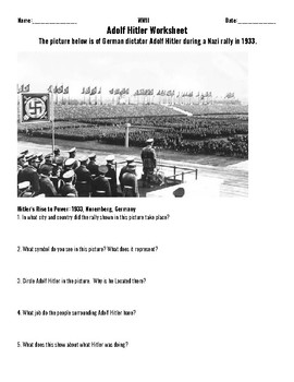 Two Assignments on the Rise of Hitler (Picture and Text Prompts)